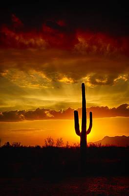Southwestern Style Sunset  Art Print by Saija  Lehtonen
