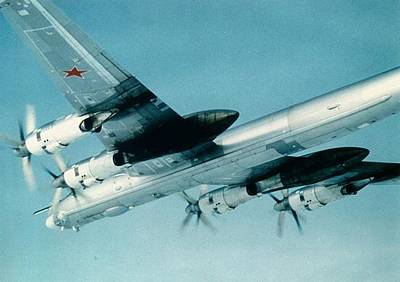 Socialist Mixed Media - Soviet Tupolev 95 Bear Black And White by L Brown