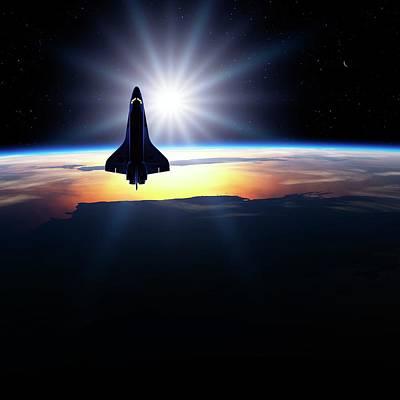 Space Shuttle In Orbit Print by Detlev Van Ravenswaay