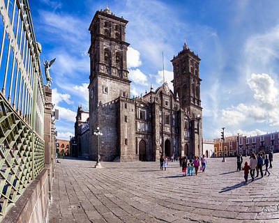 Historic Spanish Colonial Cathedral Of Puebla Mexico Art Print by Mark E Tisdale