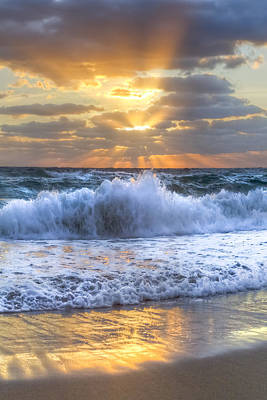 Ocean At Sunset Photograph - Splash Sunrise by Debra and Dave Vanderlaan