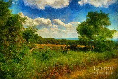 Mountains Digital Art - Split Rail Fence by Lois Bryan