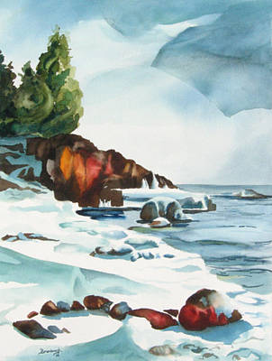 Snow Scene Painting - Splitrock Cove by Steve Brumbaugh