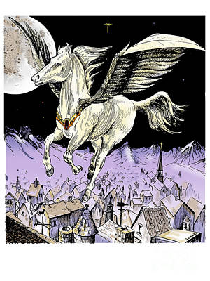Pegasus Drawing - Spreading Christmas Cheer by Joseph Juvenal