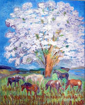 Painting - Spring And Horses 1 by Vicky Tarcau