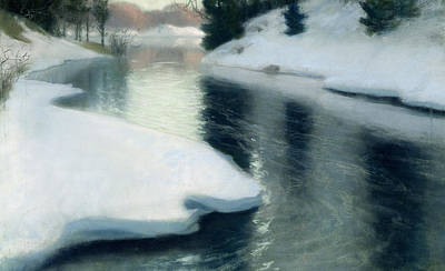 Melting Ice Painting - Spring Thaw by Fritz Thaulow