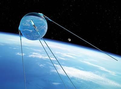 Sputnik 1 In Orbit Art Print