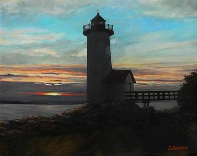 New England Lighthouse Painting - Squam Light At Sunset by Eileen Patten Oliver