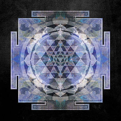 Silver Digital Art - Sri Yantra  by Filippo B