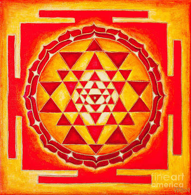 Sri Yantra For Meditation Painted Art Print