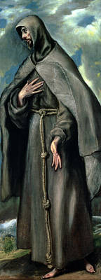 Mannerism Painting - St Francis Of Assisi by El Greco Domenico Theotocopuli