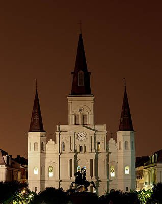 Thomas Kinkade Royalty Free Images - St Louis Cathedral at Night Royalty-Free Image by Susie Hoffpauir
