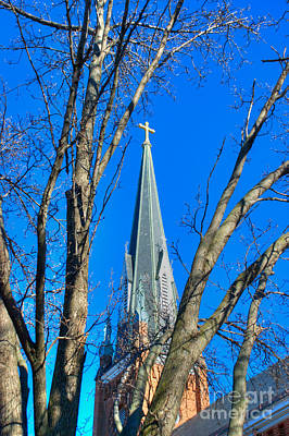 Photograph - St. Marys Church Steeple Of St Marys Church by Mark Dodd