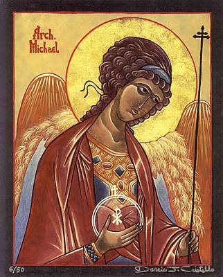Egg Tempera Painting - St. Michael The Archangel by Darcie Cristello