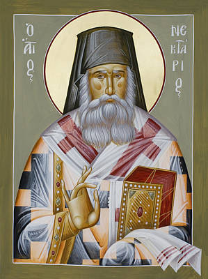 St Nektarios Icon Painting - St Nektarios Of Aegina by Julia Bridget Hayes