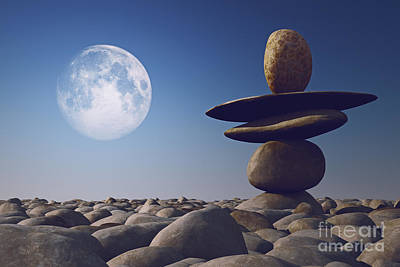 Stacked Stones In Sunlight Witt Moon Art Print by Aleksey Tugolukov