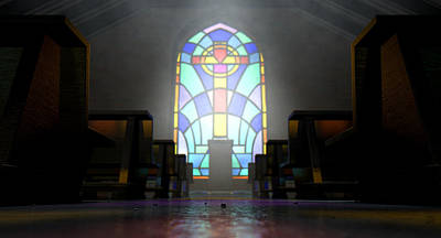 Eerie Digital Art - Stained Glass Window Church by Allan Swart