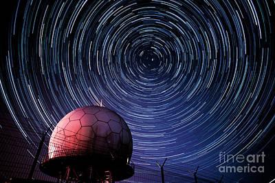 Star Trails And Radar Globe Art Print by Eszter Kovacs