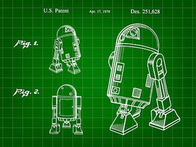R2-d2 Digital Art - Star Wars R2-d2 Patent 1979 - Green by Stephen Younts