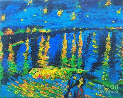 Drawing - Starry Night Bridge by Eric  Schiabor