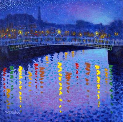 Light Reflections Painting - Starry Night In Dublin by John  Nolan