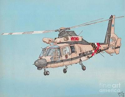 State Police Helicopter Art Print by Calvert Koerber