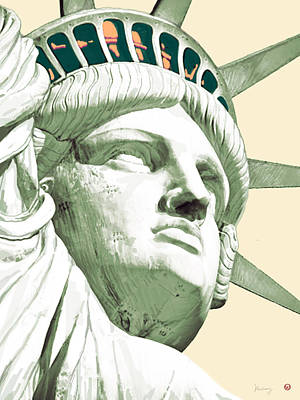 City Art Drawing - Statue Liberty - Pop Stylised Art Poster by Kim Wang