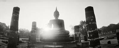 Statue Of Buddha At Sunset, Sukhothai Art Print