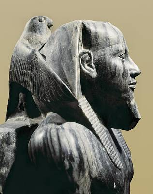 Statue Of Khafre Enthroned. 2520 Bc Art Print by Everett