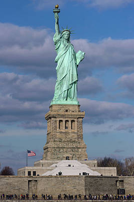 Torch River Photograph - Statue Of Liberty With City by Panoramic Images