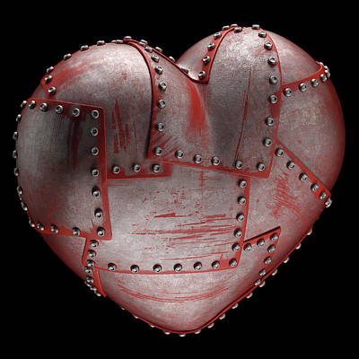 Rivets Photograph - Steel Heart With Rivets by Ktsdesign