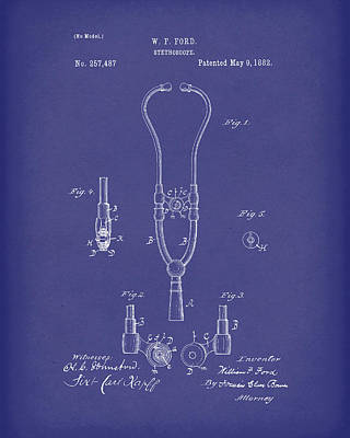 Drawing - Stethoscope 1882 Patent Art Blue by Prior Art Design