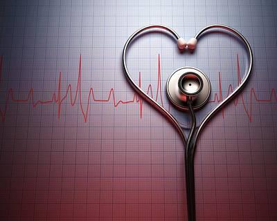 Stethoscope Photograph - Stethoscope In Heart Shape by Ktsdesign