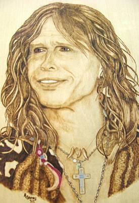 Pyrography On Wood Mixed Media - Steven Tyler by Roger Storey