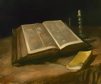 Interior Still Life Painting - Still Life With Bible by Mountain Dreams