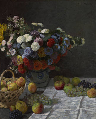 Painting - Still Life With Flowers And Fruit by Claude Monet