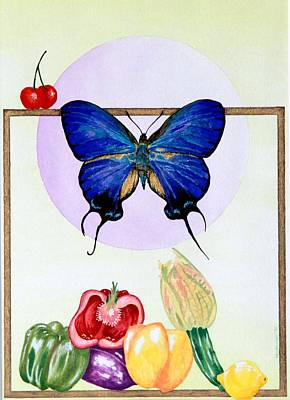 Art Print featuring the painting Still Life With Moth #2 by Thomas Gronowski