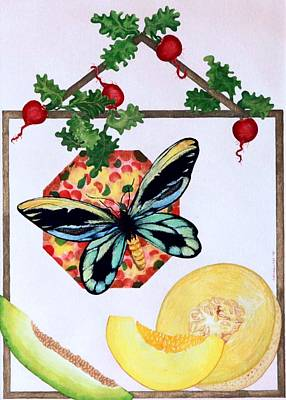 Art Print featuring the painting Still Life With Moth #3 by Thomas Gronowski