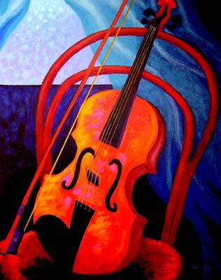 Still Life With Violin Art Print by John  Nolan