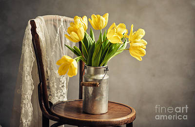 Tin Photograph - Still Life With Yellow Tulips by Nailia Schwarz