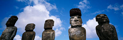 Stone Heads, Easter Islands, Chile Art Print by Panoramic Images