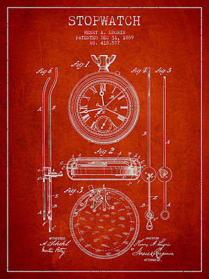 Alarm Clock Drawing - Stopwatch Patent Drawing From 1889 by Aged Pixel