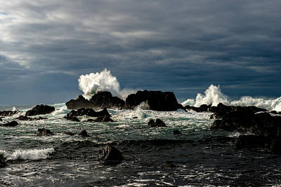 Photograph - Stormy Seas And Spray Under Dark Skies  by Joseph Amaral