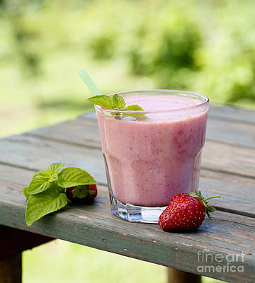 Strawberry Smoothie Photograph - Strawberry Fruit Drink by Mythja  Photography