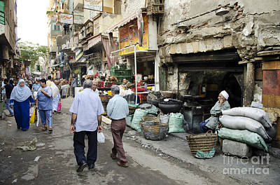 Watercolor Typographic Countries - Street Scene In Cairo Old Town Egypt by JM Travel Photography