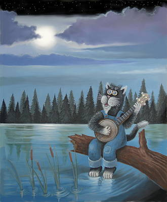 Kitty Digital Art - Strummin' By Moonlight by Stuart Swartz