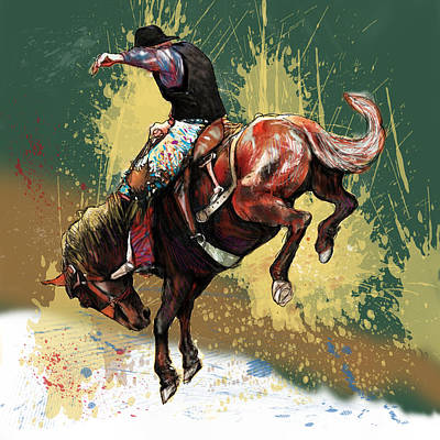Horse Drawings Painting - Stylised Cow Boy Modern Drawing Art Sketch by Kim Wang