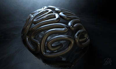 Sense Digital Art - Stylized Thought Statue by Allan Swart