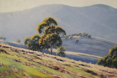 Grazing Sheep Painting - Summer Landscape by Graham Gercken
