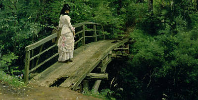 The Wooden Cross Painting - Summer Landscape by Ilya Efimovich Repin